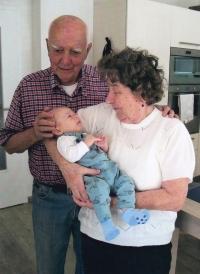Gustav Černý with his great-grandson Frantisek (2017)