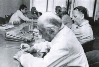 "Reunion of the protagonists of Vančura´s film ""Before the Maturita Exam"" - Před maturitou (Pavel Taussig left), Prague 1982"