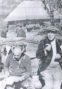 "Shooting of the film ""Marijka the Unfaithful"""" - Marijka nevěrnice - in Ruthenia, (Vladislav Vančura right, Ivan Olbracht left), 1933"