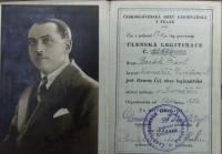 Členský průkaz Františka Borška (otce pamětníka) obce legionářské