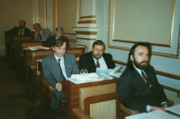Serving his first term in the Parliament, beginning of the 1990's. (Oldřich Váca in the middle, next to him Richard Hájek, front, Vladimír Líbal)