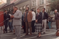 Election rally of the Civic Forum in Přeštice, 1990 (Oldřich Váca at the microphone)