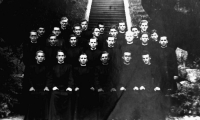 Štefan Zamiška (first row, third from the left) as a postulant of the Society of the Divine Word (1949)