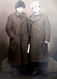 Štefan Zamiška (right), taken during the service in the military camps of forced labor PTP (Technical Auxiliary Battalion) (1951)