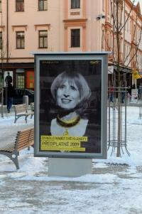 """Plakát s Monikou Švábovou s titulkem """"Divadlo nabízí své klenoty"""""""