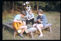 Jiří Zajíc (on the left with a guitar) camping in Nedrahovice; ca. 1971-72