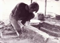 Jiří Zajíc preparing a campfire; 1973
