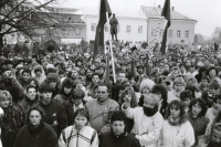 A demonstration at Horní náměstí in the town of Humpolec on the day of the general strike November 27, 1989