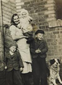 Drahomíra Frantíková with her sons Vojtěch, Rostislav and Miroslav