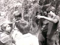 Jiří Zajíc (second from the right) camping with children; 1975