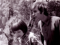 Jiří Zajíc (on the right) camping; 1975