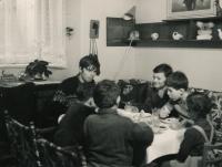 Jiří Zajíc with boys from his troop; ca. 1970