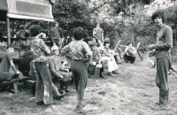 Jiří Zajíc (on the left with a mess tin) camping in Nedrahovice; ca. 1974