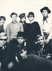 Jiří Zajíc (on the left, front row) with the Sonus theatre group (1969-75)