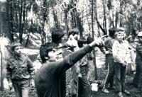 Jiří Zajíc (in front, pointing somewhere) camping; the 70s