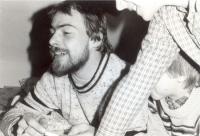 Jiří Zajíc with children on a mountain trip; 1984