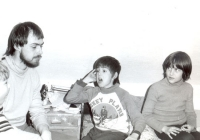 Jan Zajíc with children on a mountain trip; 1984