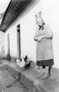 Vladimírova babička Marie Brožová před vepřovicovou chalupou v Litohlavech, 1. polovina 70. let