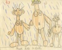 Dětská kresba z archivu Vladimíra Czumala popsaná jedním z jeho rodičů