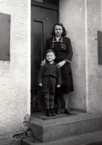 Petr Bureš with mummy (around 1954)