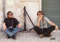 Ladislav Vavřík with František Řezníček, a photographer from Ostrava, travelling somwhere in South Europe; 1991