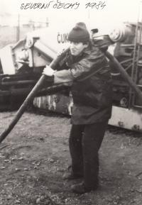 Ladislav na několikaměsíční brigádě při rekonstrukci uhelných elektráren v Severních Čechách, 1984
