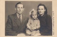 Mr and Mrs Vavřík with Ladislav´s cousin (a year before he was born); 1957