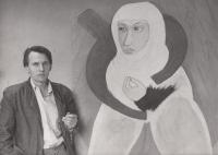 Daniel Balabán před svým obrazem Svatá Anežka - 1993