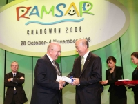 In South Korea, when being awarded a prize of the Ramsar Convention on Wetlands (2008)
