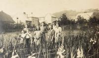 Naděžda s rodiči a sourozenci v zahradnictví, Brandýs n. O., 1942