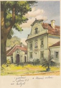 Krajský dětský domov v Zeyerových Sadech ve Vodňanech, tzv. stará budova, dobová pohlednice