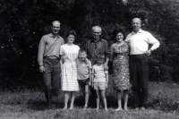 Milan Báchorek (left) with his future wife Anna and his relatives in 1967