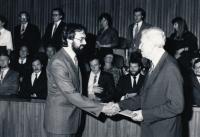 Libor Grubhoffer při promoci v pražském Karolinu, 1987