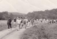 Havlíčkova mládež cestou do Havlíčkovy Borové 29. 7. 1989 (poskytlo Muzeum Vysočiny Havlíčkův Brod)