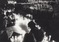 Praha, listopad 1989, foto studenti AMU