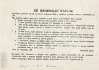 Civic Forum's instructions regarding the general strike, November 22, 1989