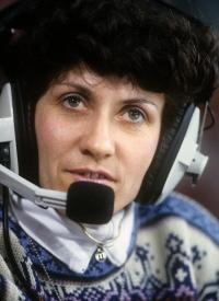 Květa Jeriová Pecková na komentátorském stanovišti v Lillehammeru, dějišti zimních Olympijských her 1994