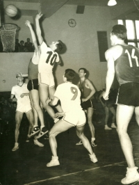 Jiří Zídek (jumping, with number 10), undated photograph