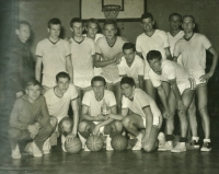 Jiří Zídek (top row, under the basket), undated photograph