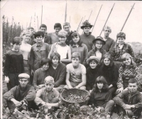Zdeněk Hrubý during a hop-picking voluntary work in 1967