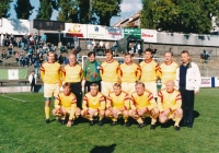 "Ján Geleta (in the lower row quite right) with the ""old team"" of the Dukla team in 1990s"