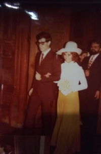 Svatba s Cesarem v kostele v Miláně, červenec 1972