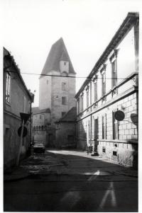 Panská ulice s Rabenštějnskou věží v 80. letech 20. století - době, kdy Libor přišel do Českých Budějovic