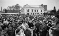 Picture from the November 1989 demonstrations in Břeclav, Zděnek Hrubý on stage