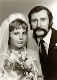 svatební foto Mileny Duchkové a Petra Neveklovského, 1976