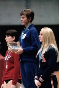 Milena Duchková at the winners rostrum; 1968 Summer Olympics in Mexico