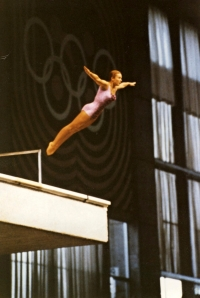 Mileny Duchková´s first jump at the 1968 Summer Olympics in Mexico