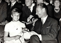 Milena Duchková with Alexander Dubček at the Prague Castle after returning from the 1968 Summer Olympics in Mexico