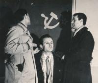Zleva Miroslav Masák, Milan Krejčí a Luboš Kos, 1957