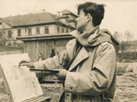 Miroslav Masák - kresba v plenéru, 1954